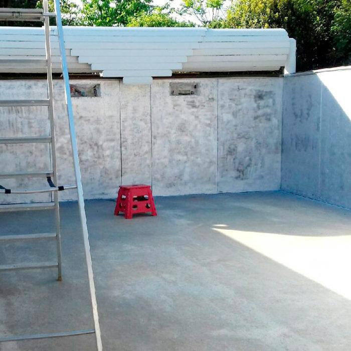 construction de piscine à Libourne, préparation de la piscine avant pose d'un nouveau liner