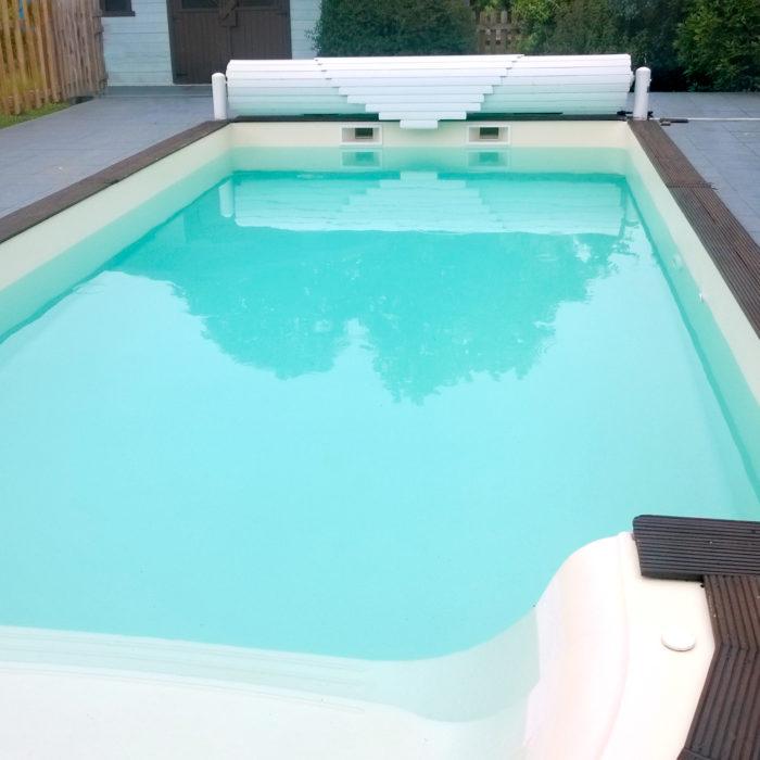 construction de piscine à Libourne, rendu du nouveau liner piscine