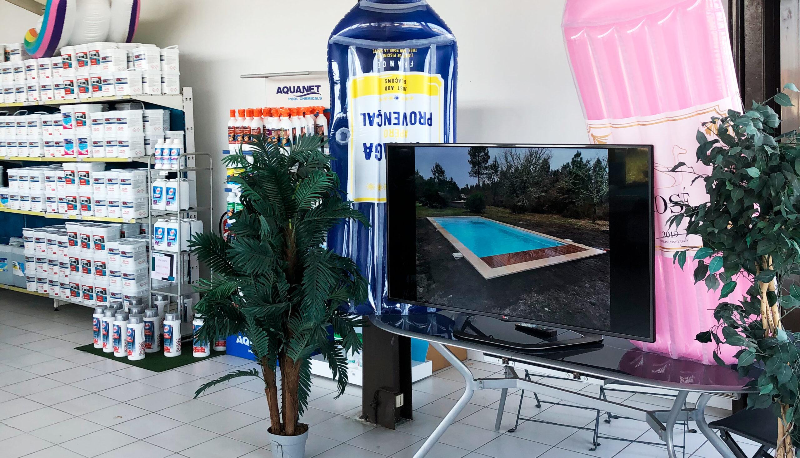 magasin de piscine à Libourne Piscines Anca rayon chimie et espace réalisation